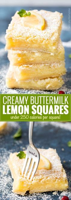 Best Buttermilk Lemon Squares   Made 100% from scratch, these lemon squares feature a buttery shortbread crust, thick, creamy, lemon filling, and are easy for anyone to make!   http://thechunkychef.com