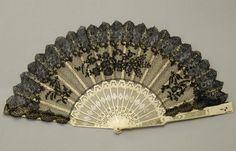 Encaje ventilador de la mano, alrededor de 1880 a 1900.