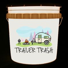 This bucket light features a colorful camping scene and the words On the road again… along with your names. We can customize this bucket light with your own combination of words and/or images. Rv Camping Checklist, Camping Tips, Camping Cornwall, Coleman Camping Stove, Old Campers, Happy Campers, Bucket Light, Travel Trailer Remodel, Vintage Travel Trailers
