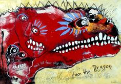 Original LABEDZKI Painting Outsider Art Face The Dragon 28x40 inches on Paper | eBay