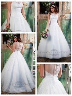 STUNNING ILLUSION NECKLINE & BACK A-LINE LACE OVER WEDDING DRESS