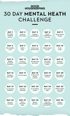 This Mental Health Challenge Is Like a Makeover for Y.- This Mental Health Challenge Is Like a Makeover for Your Mood Self-care challenge 30 days - Wellness Plan, Health And Wellness, Wellness Tips, Mental Health Plan, Improve Mental Health, Positive Mental Health, Journaling For Mental Health, Mental Health Quotes, Health Goals