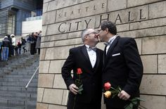 Terry Gilbert, left, kisses his new husband Paul Beppler after their wedding at Seattle City Hall, becoming among the first gay couples to legally wed in Washington state on Dec. This is my brother Terry! San Francisco State University, Mental Health Benefits, Seattle City, After Marriage, Marriage Law, City Hall Wedding, Marriage License, Gay Couple, Image