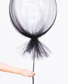 Modern Halloween Party decoration, black tulle covered balloon