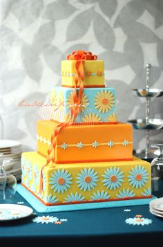 brightly colored daisy cake