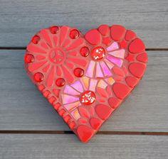 Red glass mosaic heart shaped box | Etsy