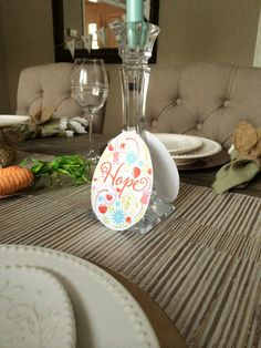 My Dog and Pony Show adds a lot of hope to her Easter table with these egg cut-outs from Treat cards.