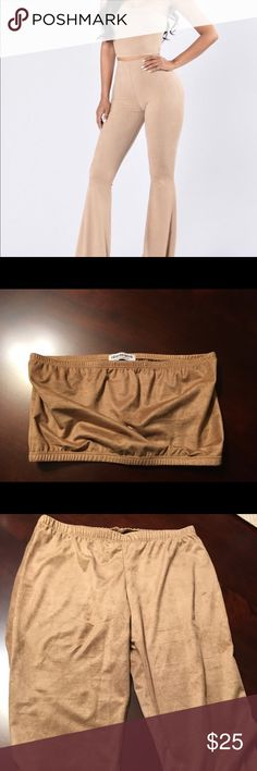 """Fashion nova set """"Dress-code Violation"""" It's a tan two piece set including a tube top & bell bottom pants. It's faux suede material. It hasn't been worn out, only tried on. Never washed. Fashion Nova Tops Crop Tops"""