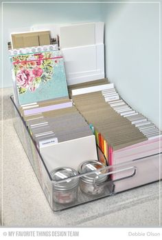 Organization: Cardstock and Stencils Cut down cardstock to card sized pieces and store in a fridge bin.Cut down cardstock to card sized pieces and store in a fridge bin. Scrapbook Room Organization, Scrapbook Storage, Paper Organization, Scrapbook Rooms, Organizing Tips, Scrapbook Supplies, Scrapbooking Ideas, Storage Organization, Card Storage