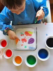 Painting with baking soda and vinegar. I think the adults have as much fun as the kiddos with this one.