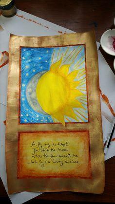zon en maan potlood en goudwas