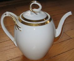 Gold Detailed Porcelain Tea Pot by eclecticdepot on Etsy