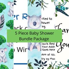 Baby Shower Bundle Package - 5 Piece Set - Baby Shower Invite - Diaper Raffle - Nursery Wall Art - Digital Paper Pattern - Thank You Card Custom Baby Shower Invitations, Personalized Invitations, Bear Nursery, Girl Nursery, Baby Wall Art, Nursery Wall Art, Flower Hair Bows, Childrens Wall Art, Diaper Raffle