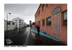 Street Art by Mobstr - At Nuart Festival in Stavanger, Norway - Street Art Utopia Street Art Utopia, Street Art Graffiti, Rain Street, Installation Street Art, Brick Art, Modern Metropolis, Art Festival, Street Artists, Banksy