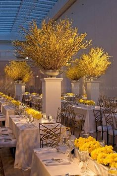 Gorgeous Yellow Wedding-Who doesn't have forsythia in their yard? Mod Wedding, Wedding Table, Wedding Reception, Reception Decorations, Event Decor, Table Decorations, Reception Ideas, Yellow Party Decorations, Reception Table