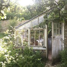 Cottage Gardens lean to greenhouse cottage garden - Lean to greenhouses and solariums are a beautiful and make a gorgeous architectural backyard garden design element. Best lean to greenhouse ideas and design Lean To Greenhouse, Greenhouse Plans, Greenhouse Gardening, Window Greenhouse, Outdoor Greenhouse, Homemade Greenhouse, Cheap Greenhouse, Greenhouse Wedding, Greenhouse House