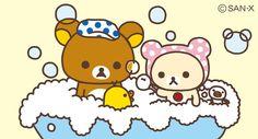 リラックマたち、お昼からお風呂で遊んでるみたい たのしそう!