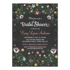 Chalkboard Bridal Shower Floral Wreath Invitations  Modern Floral Wreath Chalkboard Wedding Shower Invitations - Floral Garden Bridal Shower. Bright and cheerful, a bouquet of colorful wild flowers with pink and yellow roses, tulips, and daisies within in an abstract arbor and coral, blue, orchid, fuchsia and green accents. Elegant fancy swirly typography on slate gray blackboard. Simple but sophisticated, perfect for rustic country weddings in spring, summer, fall, or winter…