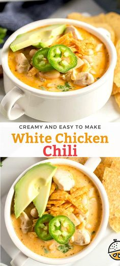 This White Chicken Chili is one of the most delicious, hearty comfort food dishes ever! This White Chicken Chili recipe is loaded with tender chicken and white beans cooked in a creamy and tasty broth. #chicken #creamy #easy #recipe #soup Chili Recipes, Pork Recipes, Easy Recipes, Easy Meals, Savoury Dishes, Food Dishes, Creamy White Chicken Chili, Lemon Blossoms, Fancy Dinner Recipes