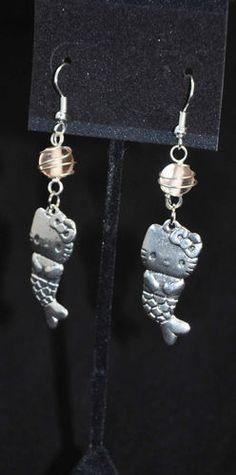 Hello Kitty Mermaid Pink Wire Wrapped Dangle Earrings Handmade #ebay #jewelry #hellokitty #handmade