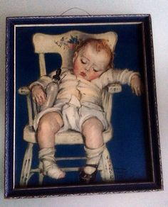 Vintage 1930's Maud Tousey Fangel Framed Baby Print on Etsy, $26.00