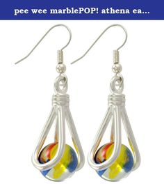 pee wee marblePOP! athena earrings French Hook. A cute and fun little pendant that comes with 9 itty bitty (10mm) marbles that can be interchanged in the pendant. Comes strung on a silver clad fine ball chain. Packaged in a gift box with instructions.