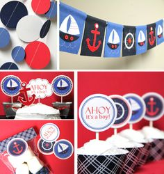 @Stephanie Schick more Nautical Baby Shower ideas...love the banner and dots that are from felt and sewn....easy smeasy party decorations that can be recycled into room decor.