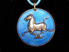 New Listings Daily - Follow Us for UpDates -  Description & Style:  Blue Enamel Horse Pendant - Turquoise Blue Leather Necklace Strap - Bronze Galloping Horse Medallion - Han Dynasty 2nd Century - Wuwei Kansu offered b... #vintage #jewelry #teamlove #etsyretwt #ecochic #metropolitan #thejewelseeker