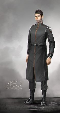 Iago: Academy Uniform concept, Kyle Brown on ArtStation at https://www.artstation.com/artwork/iago-academy-uniform-concept