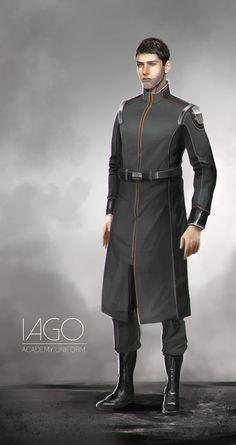 Iago: Academy Uniform concept, Kyle Brown on ArtStation at https://www.artstation.com/artwork/iago-academy-uniform-concept