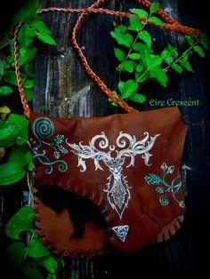 Silver Stag and Sacred Oak Celtic Deerskin Bag by EireCrescent, $75.99