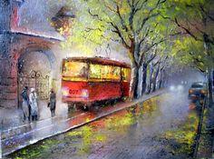 Трамвай , ночной город