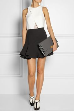Dion Lee | Windfall bonded tech-jersey and silk-georgette top | Victoria Beckham | Fluted silk and wool-blend mini skirt | Valentino | Patent-leather and velvet T-bar pumps | Stella McCartney | Faux leather shoulder bag |