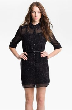 Wear with black leggings to work/school - Kensie Sheer Two Pocket Shirtdress available at Nordstrom