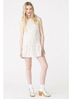 Floral Lace Beach Sun Dress #Cream #Floral #Lace #SunDress #Chic #sleeveless #peplumhem #ustrendy
