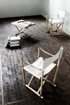 The 'Safari-chair' and the 'Propel-stool' by Kaare Klint has been given new life by Carl Hansen & Son.