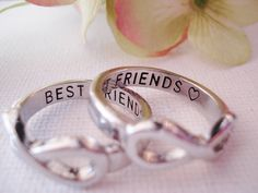 Set of 2 EA Infinity Ring Silver BEST FRIENDS custom engraved ring , forever friends, you and me, to infinity, forever and always, gift ring...