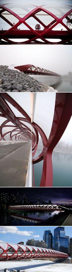 Peace Bridge in Calgary, Canada by Spanish architect Santiago Calatrava. #bridges #architecture #Canada #design #traveldestinations2015