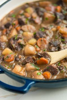 This Drunken Beef Stew is studded with tender beef and wrapped in a rich and thick wine sauce. Get out your crusty bread because you're going to need it!
