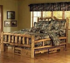 too overboard with the camo comforter AND cabin themed bed frame. but I definitely want the bed frame! with some camo accents of course ;)