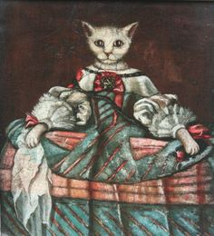 A young lady of the Spanish Court. Cat art by Jan Terje Rafdal under his alter ego Felix Fiigenschou. 2013.