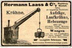 Original-Werbung/ Anzeige 1901 - KRÄHNE- AUFZÜGE- WAAGEN /MOTIV KRAN /HERMANN LAASS MAGDEBURG- NEUSTADT- ca.100 x 60 mm