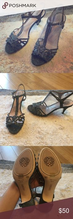 Vince Camuto Molli Heels NEW Never even been tried on. These Vince Camuto heels are a beautiful glitter/ pewter color with 3 inch heels. Comes with box! Perfect for all those spring weddings! Vince Camuto Shoes Heels