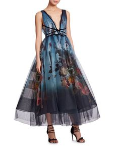 V-Neck Sleeveless Floral-Print Ombré Tulle Evening Gown by Marchesa at Neiman Marcus