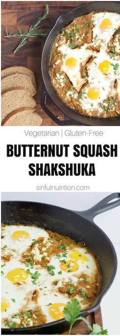 Butternut Squash Shakshuka -- A healthy recipe with eggs poached in a spiced butternut squash sauce, and topped with feta and fresh herbs. The perfect breakfast, brunch, or any meal! | @sinfulnutrition | #sinfulnutrition | #glutenfree | #vegetarian | #brunch | #eggs | #butternut | #fall | #winter