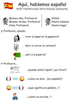 aqui-hablamos-espanol: fiche avec quelques phrases utiles en classe. Idéale  pour un cours d'initiation par exemple. espagnol.hispania.over-blog.com                                                                                                                                                                                 Plus