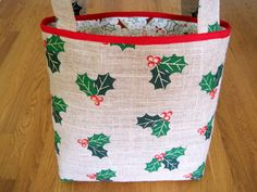 Large Tote Bag - Holly Metallic 100% Jute BURLAP Green Red Gold Leaves Berries White COTTON for Christmas Present Gift 2 Pockets REVERSIBLE! ~ Available on www.MaliakeiBags.com