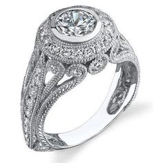 .92 ctw. Engraved Filigree and Bezel Prong Diamond Engagement Ring - Right Angle
