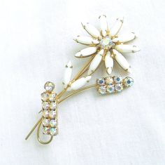 Vintage JULIANA D&E Verified Milk Glass & Aurora Borealis Rhinestones Flower Brooch by MyVintageJewels on Etsy, $34.00