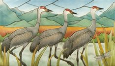 Elaine Bolz. New Mexico. Sandhill Cranes Tile Mural used as backsplash over a stove.